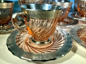 6 NTIQUE HEAVY STERLING SILVER HEISEY PINK SWIRL GLASS COFFEE CUPS & SAUCERS