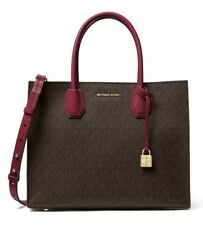 NWT MICHAEL KORS STUDIO MERCER LG Conv. TOTE Satchel Bag BROWN/MULBERRY PVC $298