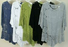 New Italian Ladies Quirky 2 Piece Crochet Lagenlook Casual Summer Top Tunic
