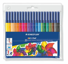 20 x STAEDTLER NORIS CLUB FELT TIP PENS in Wallet 20 Assorted Colours