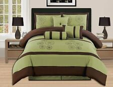 luxurious Comforter Bedding Set King Size Bed In A Bag Green Embroidery 7 Pieces