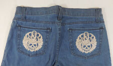 Rock & Republic Jeans Size 28 Waist 34 Inseam 32 Berlin Front Lt Blue No Button