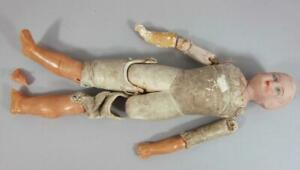 VINTAGE / ANTIQUE DOLL with KID LEATHER BODY for RESTORATION