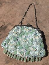 Siman Tu Green Apple Chrysoprase Pearls Sequins Fringe Jewelry Evening Bag RARE