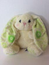 Aurora Bunny Rabbit Yellow Plush Lime Green Floral Long Ear Lovey Lopsie Wopsie