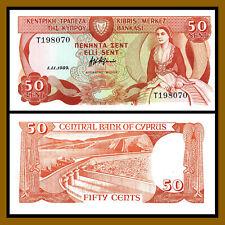 Cyprus 50 Cents, 1989 P-52 Unc