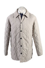 Vintage Barbour Quilted Mens Coat Jacket Classy Gentlemens Size L Cream - C1789