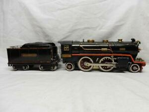 LIONEL No.390E STANDARD GAUGE 2-4-2 LOCOMOTIVE & TENDER, C-7 EXCELLENT, NO RSV!