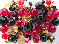 Glass Bracelet Making Kit / Bead Mix  - Black ,Red & Gold -  Flamenco