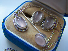 ABSOLUTELY GORGEOUS STERLING SILVER ROSE QUARTZ EARRINGS PENDANT STICK PIN SET