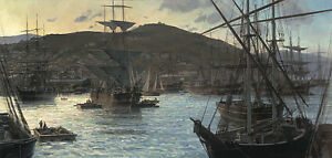 Christopher Blossom GOLD RUSH TWILIGHT, Clipper Ship, art print w/Hand REMARQUE