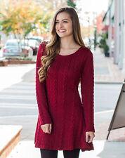 Womens Winter Long Sleeve Jumper Tops Ladies Slim Knitted Sweater Mini Dress US
