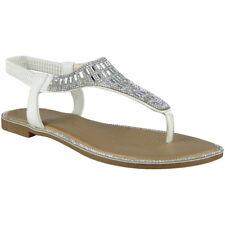 b2ed3a4e181 Womens Diamante T-bar Flats Ladies Summer Sandals Slingback Toe Post Shoes  Size UK 3