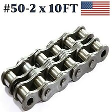 50R-2 DOUBLE STRAND ROLLER CHAIN 10FT WITH CONNECTING LINK SAME DAY SHIPPING