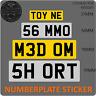 Stick on Number Plate short shorten cut down mini small UK Reflective Vinyl