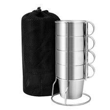 4Pcs Stainless Steel Cup Mug Drinking Coffee Beer Tumbler Camping W/ Rack + Bag