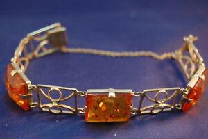 Deutschland Armband mit Bernstein, Gold 333, circa 19cm sehr guter Zustand