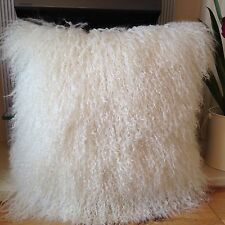 Natural Bianco 40*40cm vera pelle di pecora mongola agnello pelliccia di lana Copricuscino