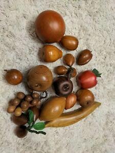 Vintage Wooden Fruit 15 Pieces Banana Apple Pomegranate Grapes Lemon Kumquat