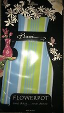 "NEW Baci Milano Reusable 10"" Plastic Blue Teal Yellow Striped Flowerpot Vase"