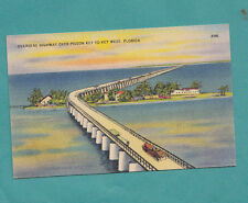 Overseas Highway to Key West passes over Pigeon KeyV Vintage Linen Postcard Auto