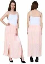 Womens Long Chiffon Maxi Pleated Boho Skirt Ladies Side Splits Plus Sizes 6 - 24