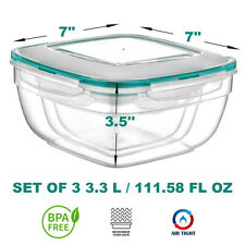 Microwave Safe Lunch Box Airtight, Watertight Smelltight BPA FREE Square 3.3 L