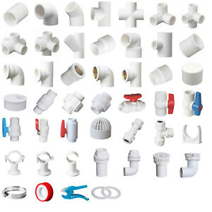White PVC 32mm ID Pressure Pipe Fittings Metric Solvent Weld Various Parts