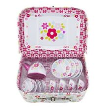 CHILDRENS TEA SET & PICNIC BOX HAMPER RETRO PINK ROLE PLAY TEA PARTIES FUN GIFT