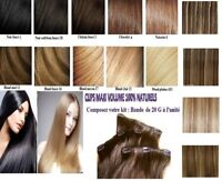 1 BANDE D'EXTENSIONS A CLIPS CHEVEUX 100% NATURELS INDIAN REMY HAIR 49 60 66CM
