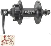 SHIMANO DEORE M525A--32H--QUICK RELEASE AXLE DISC HUB BLACK BICYCLE FRONT HUB