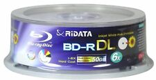 25 RIDATA 50GB Blank Blu-Ray BD-R DL 6X Dual Double Layer Inkjet Printable Disc
