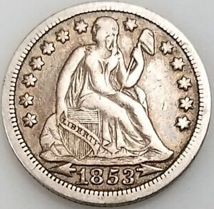 1853 Seated Liberty Dime, arrows at date variety!