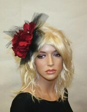 Red and Black Fascinator with Flowers, Wedding and Prom Accessories, Hair Clip