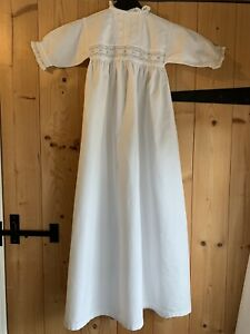 Antique Victorian Edwardian White Broderie Anglaise  Christening Gown