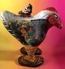 Folk Art Wood Box Chicken Rooster Carving Painted Mexico Soup Vintage Wooden