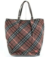 Burberry Blue Label Burgundy Fabric Checkered Tote Bag Dark Brown Leather Trim