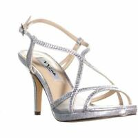 Nina Womens Blossom Open Toe Casual Strappy Sandals, Silver, Size 8.0 DtRd