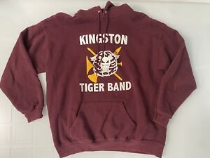 XL Vtg 90s Lee Heavyweight Maroon Hoodie  Kingston Tiger Band Sweatshirt 50/50