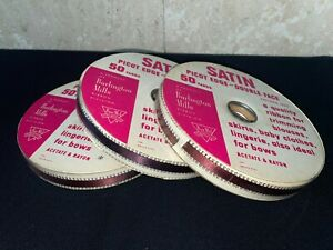 Lot of 3 Vintage Rolls Ribbon ~ Satin Picot Edge, Double Face 50 Yards Each NOS