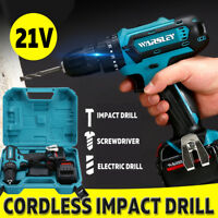 21V Cordless Drill Electric Screwdriver Hammer Rechargeable 2 Li-Ion    !  1 .