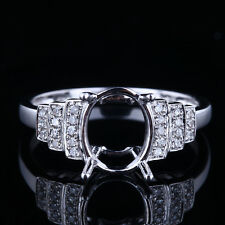 DIAMONDS ANTIQUE ELEGANT WEDDING SEMI-MOUNT RING 9x7MM OVAL STERLING SILVER 925