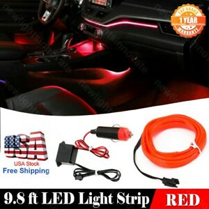9.8Feet Car Interior Atmosphere Decor Neon Light Strip RED Cold Light Fit Toyota
