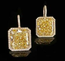 Yellow Color Gem stone Earrings,925 SSL Earrings with Side Moissanite Diamond