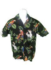 PACIFIC LEGEND HAWAIIAN SHIRT Black PARROTS ALOHA magnum PI made HAWAII Men S