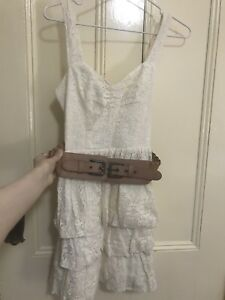 Guess cream lace dress with brown belt size 3