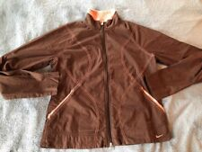 Nike Cotton Lightweight Jacket Brown With Pink Stitching Sz Large