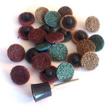 "1"" Assorted Grit Finishing Sanding Discs Wheels & Mandrel Roll Lock Roloc™ Style"