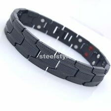 MEN'S LARGE  DOUBLE ROW BIO MAGNETIC BRACELET STAINLESS STEEL 5 IN 1  BLACK