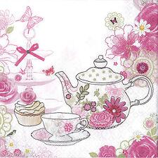 """2 Decoupage Paper NapkinsTea set, teapot, cups  25x25 cm. 10""""x10"""" 2 pcs #17"""